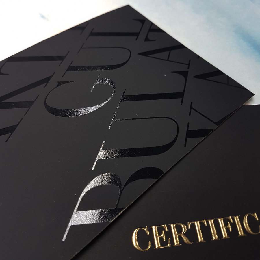 Certificate with lacquered elements